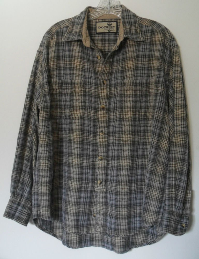 Dockers Khakiware Mens Medium Outdoor Flannel Button Down 2 Chest Pockets