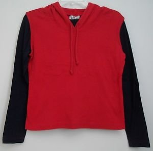 Self Esteem Dual Tone Navy Blue and Red Long Sleeve Hoodie Drawstring Closure