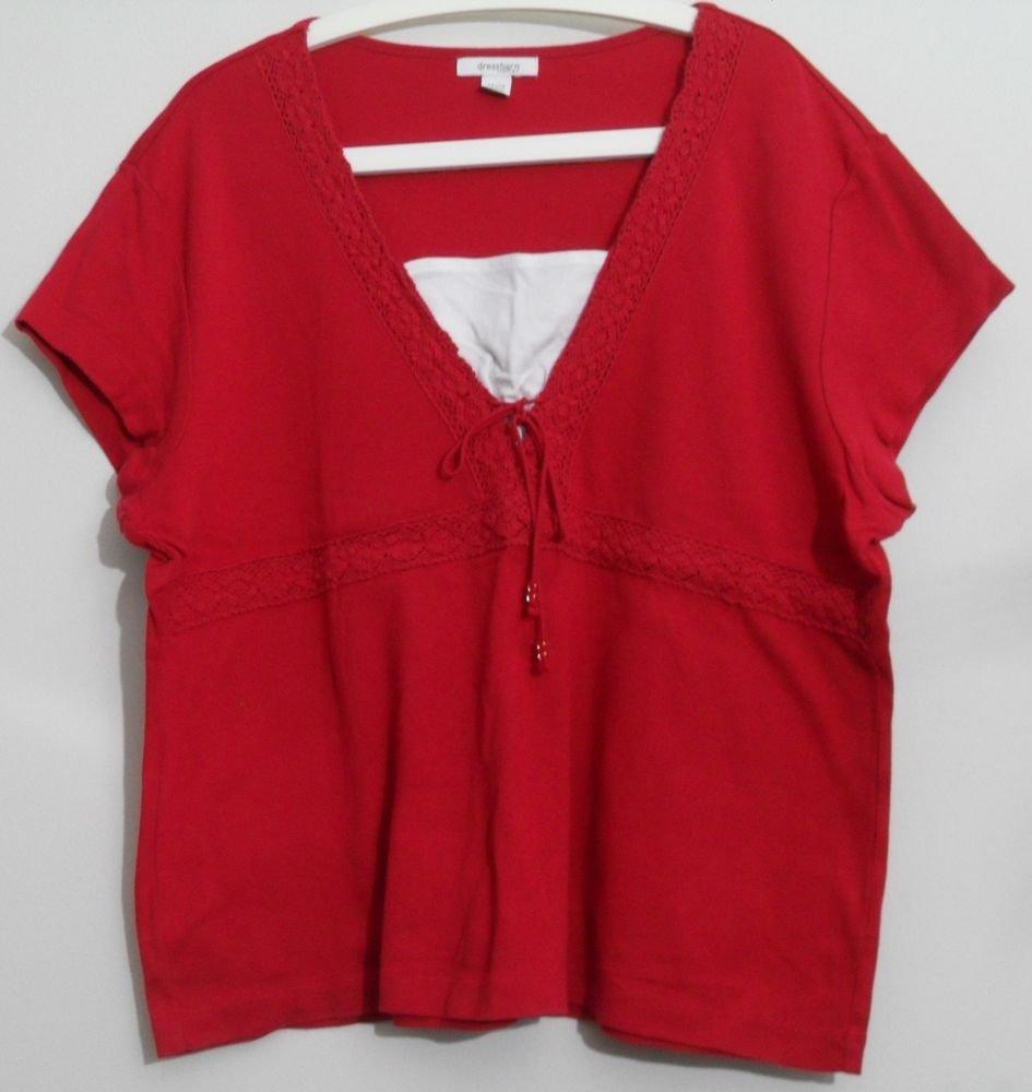 Dressbarn Woman  Red SS Crocheted V-neck w/ Tie w/ Beads Empire Waist  22 / 24