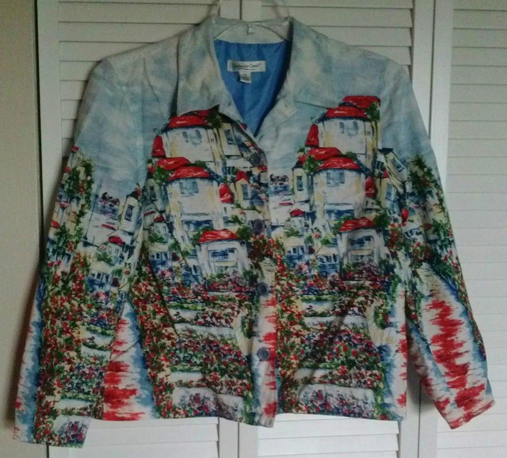 Coldwater Creek PM Seaside Villas Print Button Down Linen & Rayon Lined Jacket