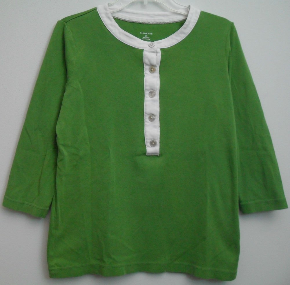 Lands End Womens Medium 10 / 12 Green White 1/2 Half Button Front Pullover Knit