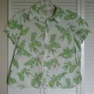 Studio Works Woman 1X Swiss Dot White w/ Green Flowers & Leaf Leaves Print Top