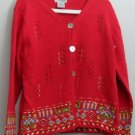 NorthStyle Red Cardigan sz XL Holiday Oyster Shell & Bead Buttons Ribbon Accent