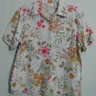 Erika Medium Floral Linen Blend w/ Rayon Chest Pocket Button Down Blouse Top