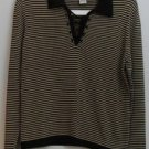 Linda Lucia Large L Black & Tan/Gold Stripes Rayon Nylon Stretch Lace Tie V-neck