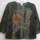 DB Sport Orange Green Flower Bird 3/4 Sleeve Velour Top Japanese Symbols