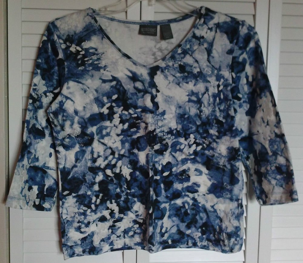 Additions by Chico's Size 1 Watercolor Blue & Silver Paint Sparkle on White Top