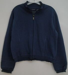 Catalina Medium 8/10 Dark Blue Ribbed Collar Hem Cuffs Zipper Up 2 Pocket Jacket