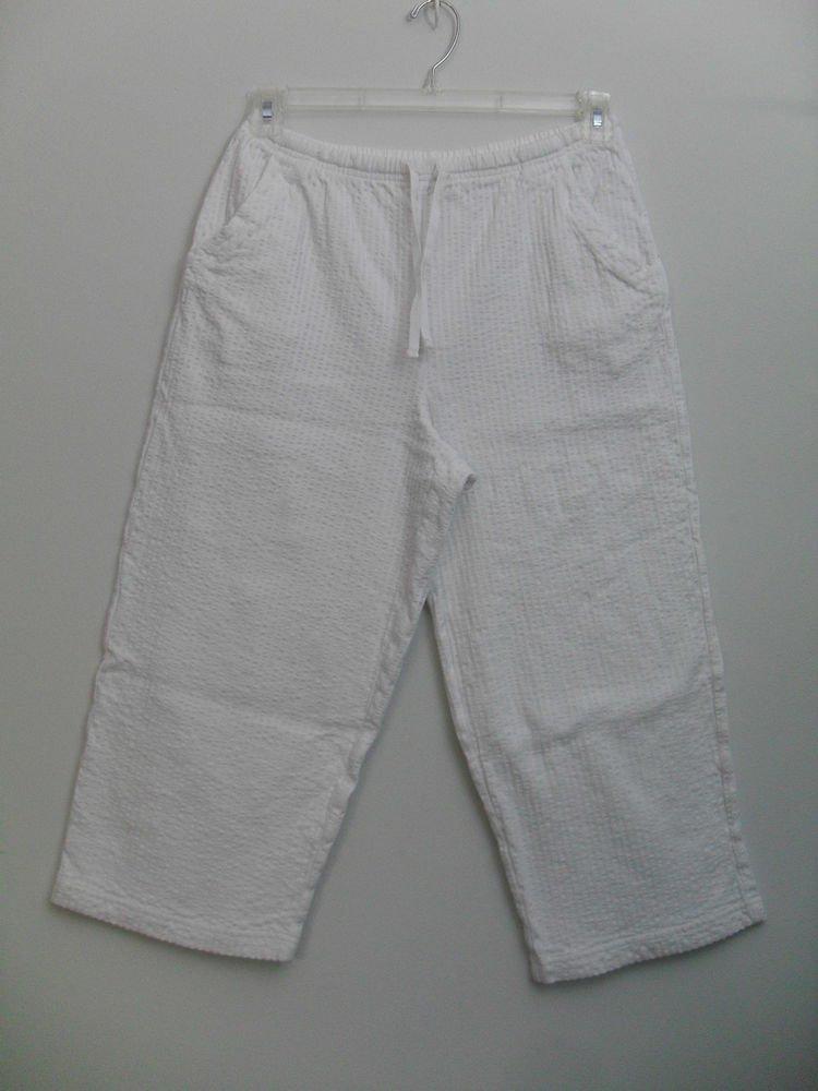 Studio Works LG White Elastic Drawstring Summer Lounge Capri Cut Pants 2 Pockets