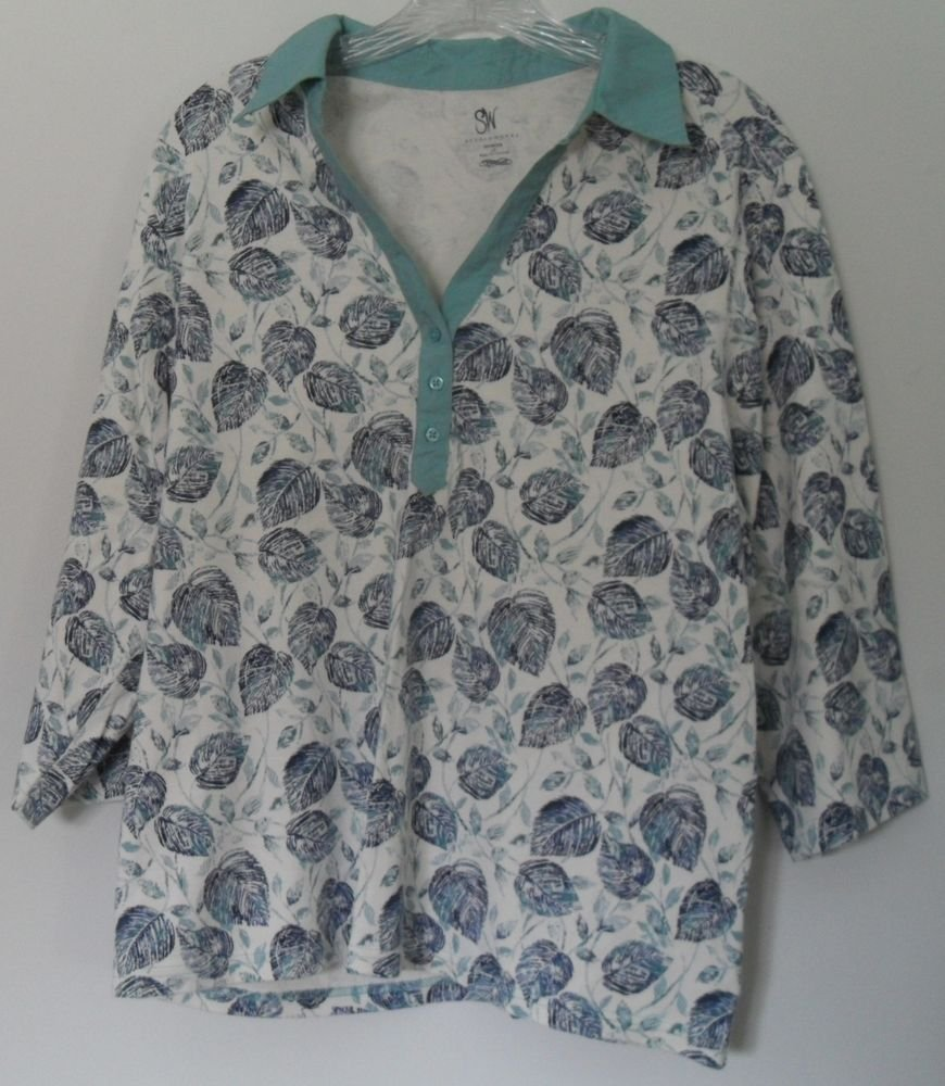 Studio Works Womens Plus 2X Half Button Leaf Pattern Collared 3/4 Sleeve KnitTop