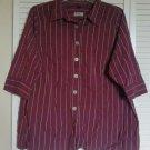 Avenue Signature Shirt 26 28 Purple Red ( Burgundy ) Button Down Cotton Stretch