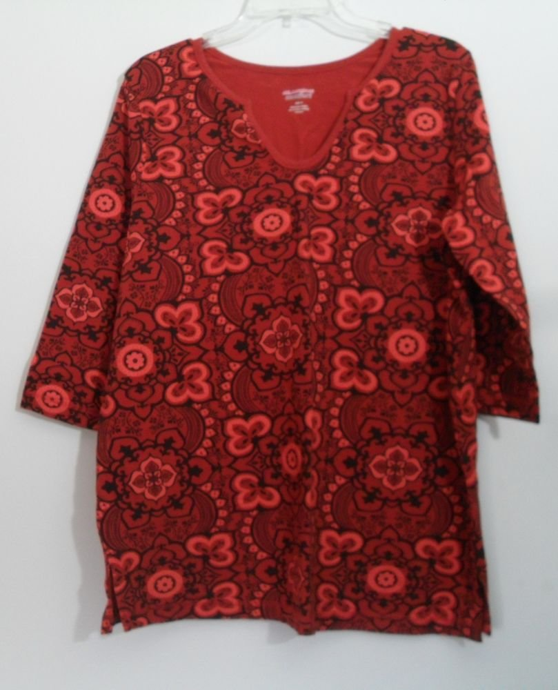 Woman Within All American Comfort 1X Coral & Burnt Orange Black Rounded U V-neck