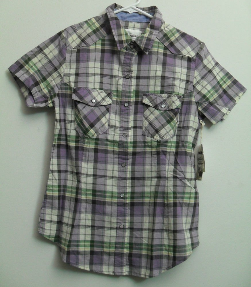 Authentic Rugged Company Small Purples Plaid Snap Button Down 2 Chest Pockets