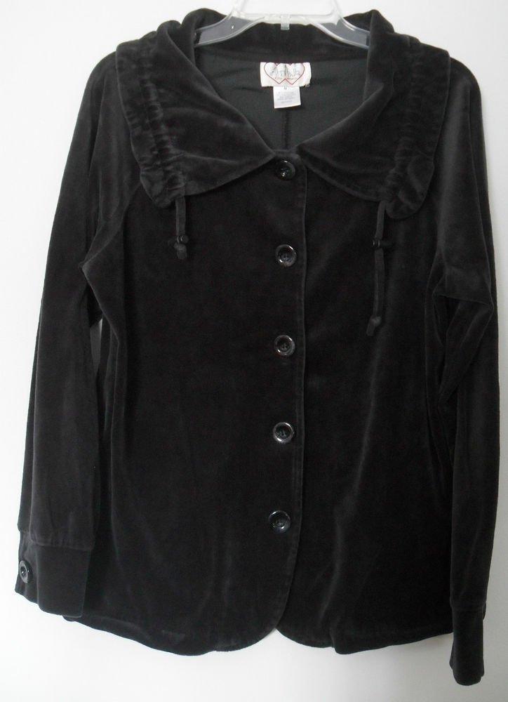City Hearts Medium Draw Cord Funnel Neck Black Velour Button Down Pocket Jacket