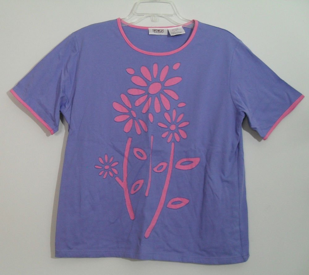 PBJ Sport Pink Purple Short Sleeve 100% Cotton Knit Top Flower Floral Design Top