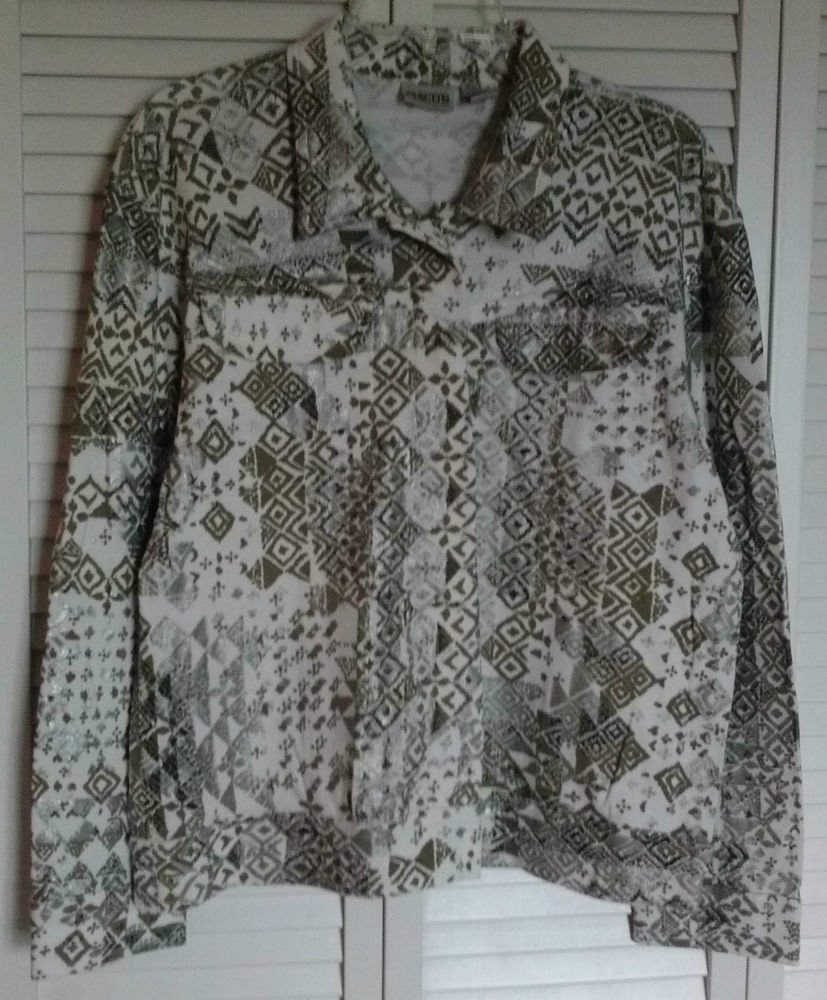 Chicos ( 2 ) Snap Jean Style Pocket Jacket White Gold Black Silver Paint Sparkle