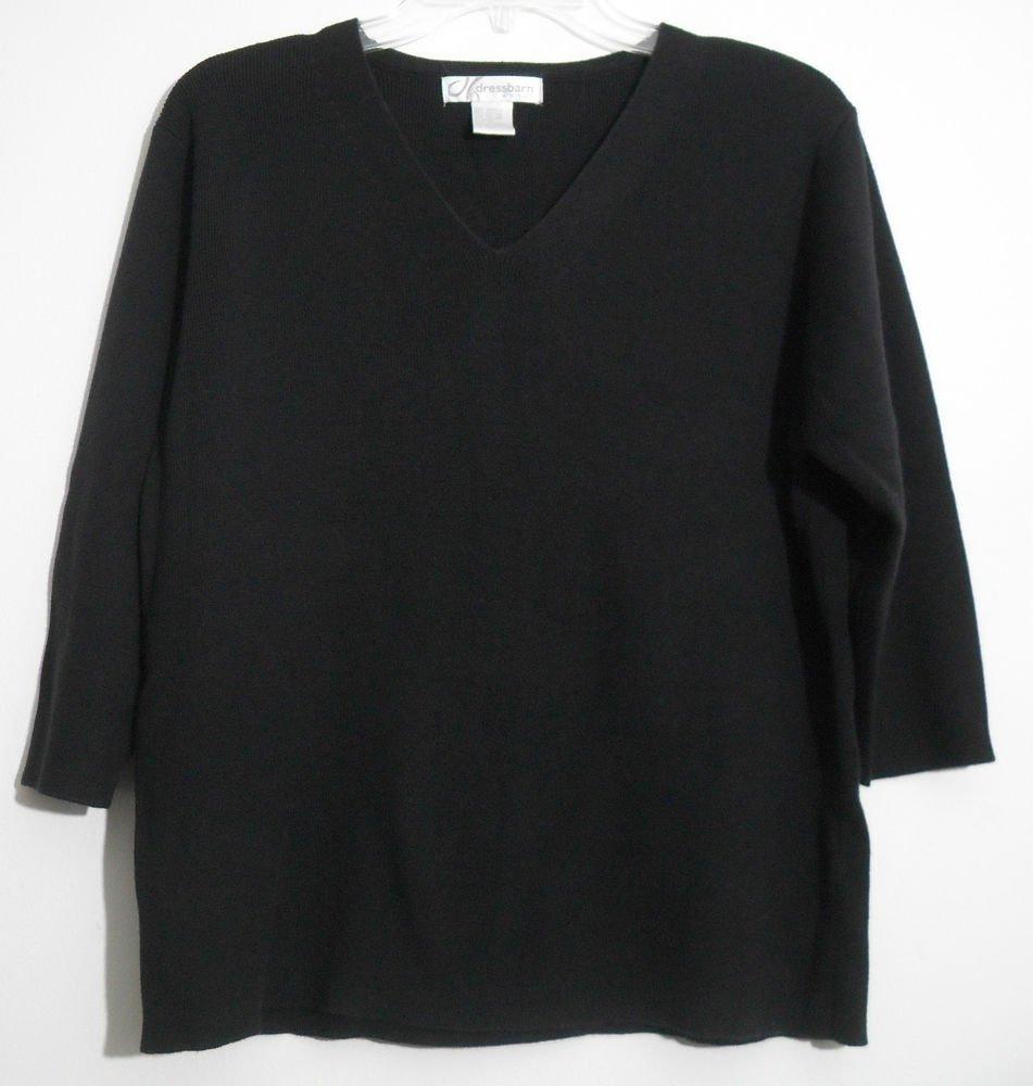 Dressbarn Woman Acrylic & Cotton Black 3/4 Sleeve V-neck Pullover Sweater 14/16