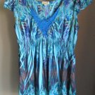 One World Live & Let Live Subliminal Empire Top Crocheted Inset Neckline Large
