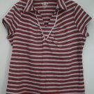 Route 66 Original Trademark Cap Sleeve Collared Gathered Neckline V-Neck KnitTop