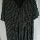 Michael Kors 2X Rough Cut Black & White Elasticized Empire Waist Pullover Blouse