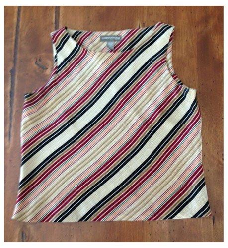 Valerie Stevens Retro Feel Striped Silk Blouse (PSm)