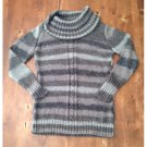 Art & Soul Gray Striped Cowl Neck (L)