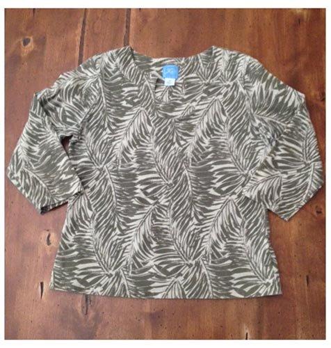 Lara Lane Palm Patterned Casual Pullover (M)