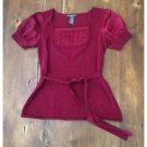 Hillard & Hanson Red Knit Self Belting Top (M)