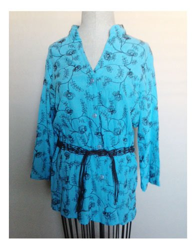 Sag Harbor Aqua Blue Embroidered Blouse (S)