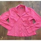 B. Moss Tailor Hot Pink Button Down Blouse Pinstripe Long Sleeve Large L