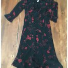B. Moss Dress Collection Black Red Floral Dress Sheer Lined Polyester Size 10