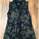 NWT 212 Collection Black Gold Sleeveless Twisted Neck Top Rayon XS Stretch