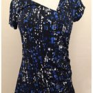 Apt.9 Blue Black White Stretch Modern Print Short Sleeved Blouse Small S