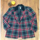 Vintage 90s Red  Plaid Wool Blend Blazer Size 12 EUC Jacket