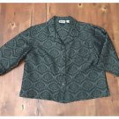 Chicos Design Black Gray Asian Look Blouse Button Up Short Sleeve Size 1 Small