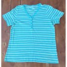 Land's End Aqua Striped Henley Style T-Shirt Tee Ribbed Medium M EUC