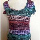 About A Girl Colorful Southwestern Pattern Cropped Fit Top Medium M