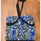 Studio 1940 Black & Blue Bold Patterned Halter Stretch Tie at Neck Large L