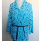 Sag Harbor Aqua Blue Brown Floral Embroidered Button Up Blouse Belted Small S