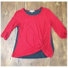 Foster + Mullen Red Gray Rayon Long Sleeved Pullover Top Medium M Stretch