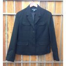 French Cuff Black Blazer Button Up Fully Lined Size 10 Stretch EUC