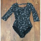 Xhilaration Black Tan Lace Leotard Partial Sheer Lined Stretch EUC XS