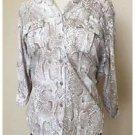 Liz Claiborne Snakeskin Tan White Button Down Shirt Cotton Modal Medium M