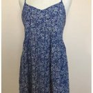 Elodie Blue White Small Floral Print Rayon Tank Blouse Large L EUC Zips at Back