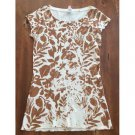 NWOT Lucy Ivory Stencil Floral Print Waffle T-Shirt (XS)