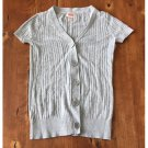 Mossimo Light Gray Knit Button Up Top (XS)