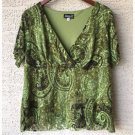 B.Y.A.Y.C.D.A Olive Green Lace Paisley Blouse (1X)