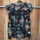 Jessica Simpson Sheer Floral Black Blouse (S)