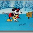 Minnie Mickey Mouse Disney Signed MARC DAVIS On Ice Sericel FREE Background Cel