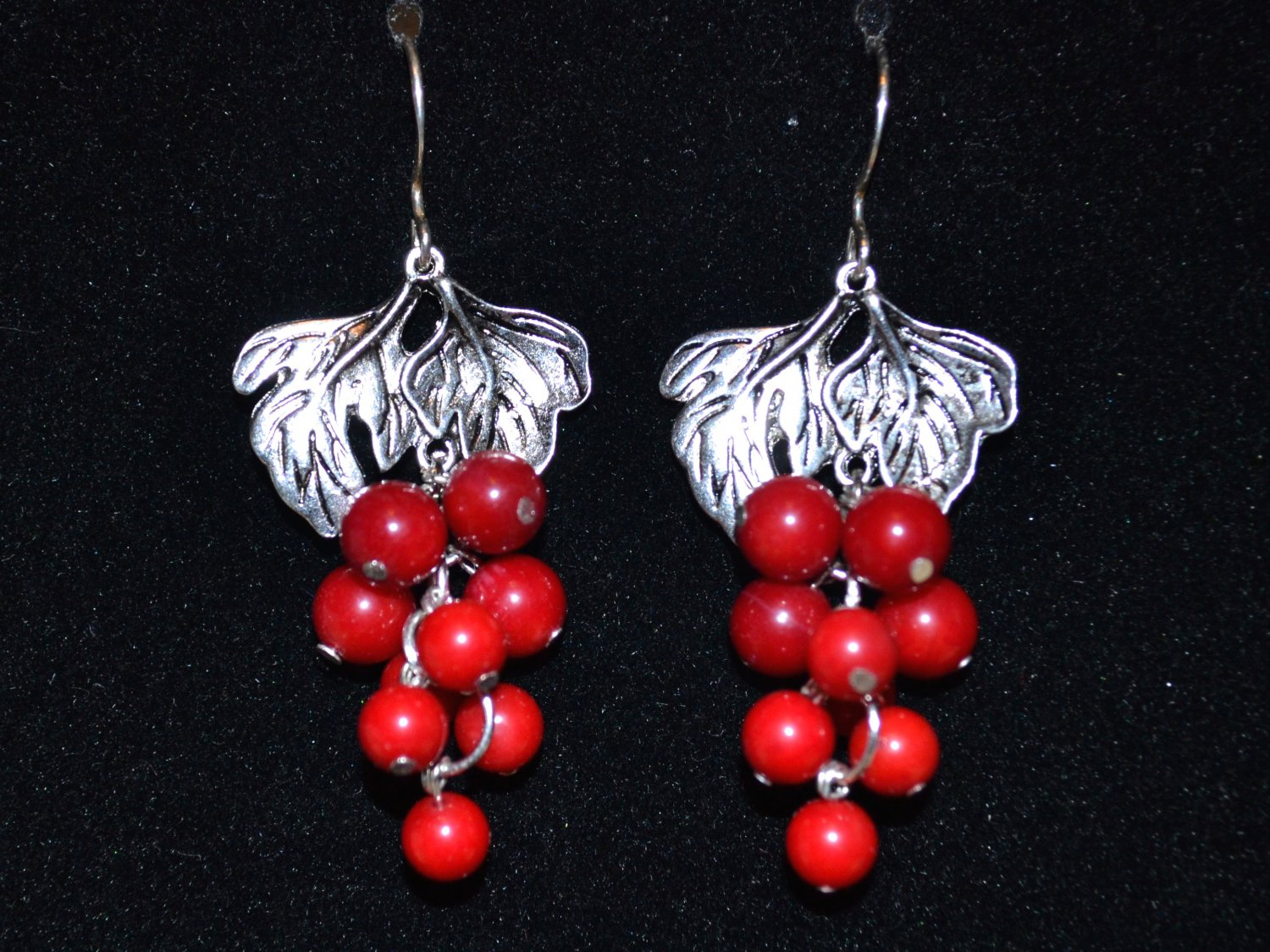 Earrings with coral and silver earwires
